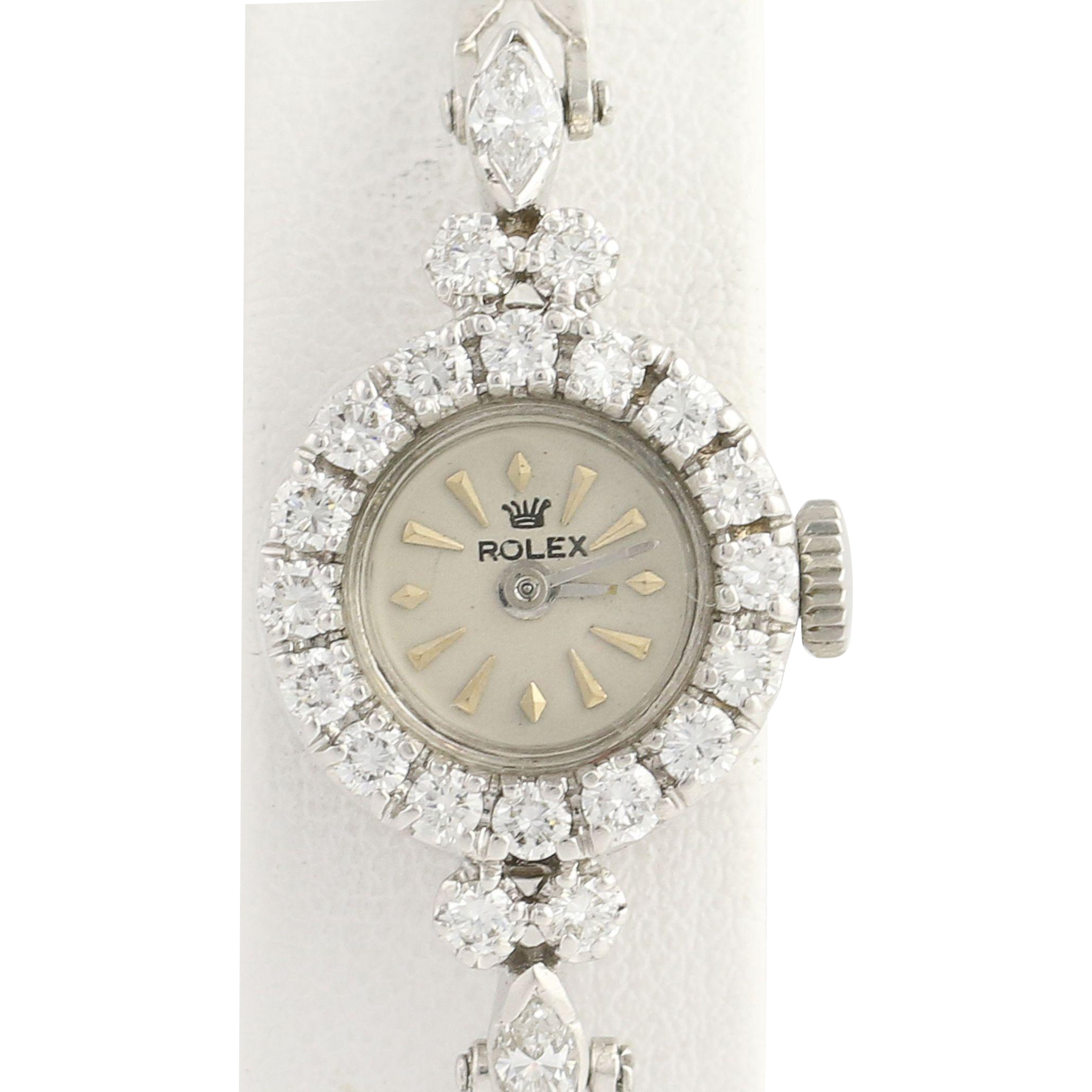 1940's Rolex Diamond Wristwatch - 14k Gold Vintage Mechanical 1.15ctw
