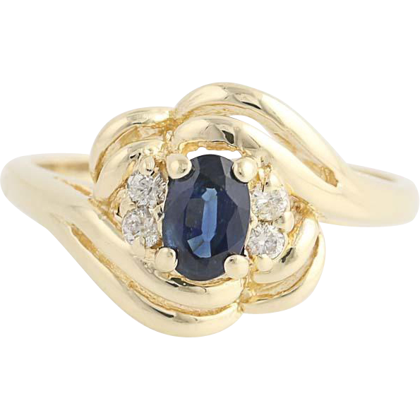 Sapphire & Diamond Bypass Ring - 14k Yellow Gold September Birthstone .72ctw
