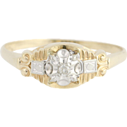 Art Deco Diamond Ring - 14k Yellow & White Gold Women's Vintage .03ct