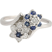 Floral Sapphire & Diamond Bypass Ring - 14k White Gold April September .51ctw