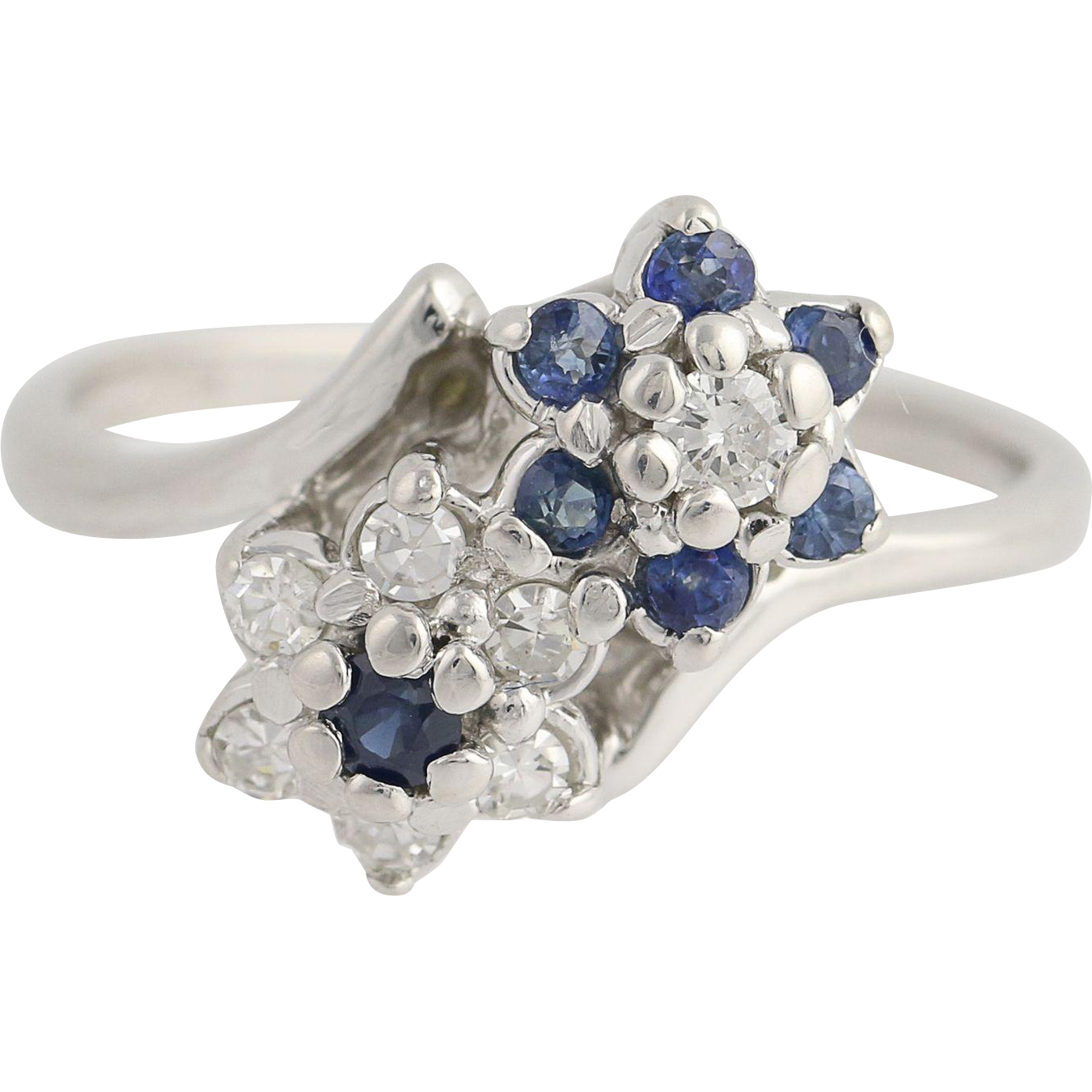 Floral Sapphire & Diamond Bypass Ring - 14k White Gold April September .51ctw