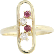 Ruby & Diamond Ring - 10k Yellow Gold July Birthstone .26ctw