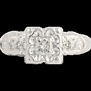 Vintage Engagement Ring & Wedding Band Set - 14k White Gold .28ctw