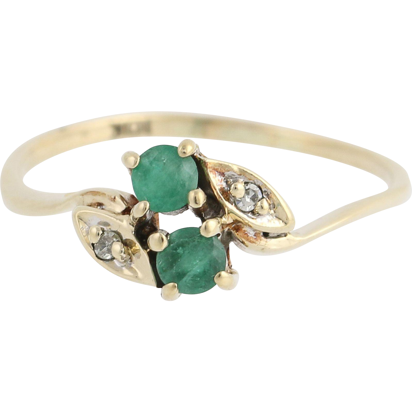 Emerald & Diamond Bypass Ring - 10k Yellow Gold May Birthstone .25ctw