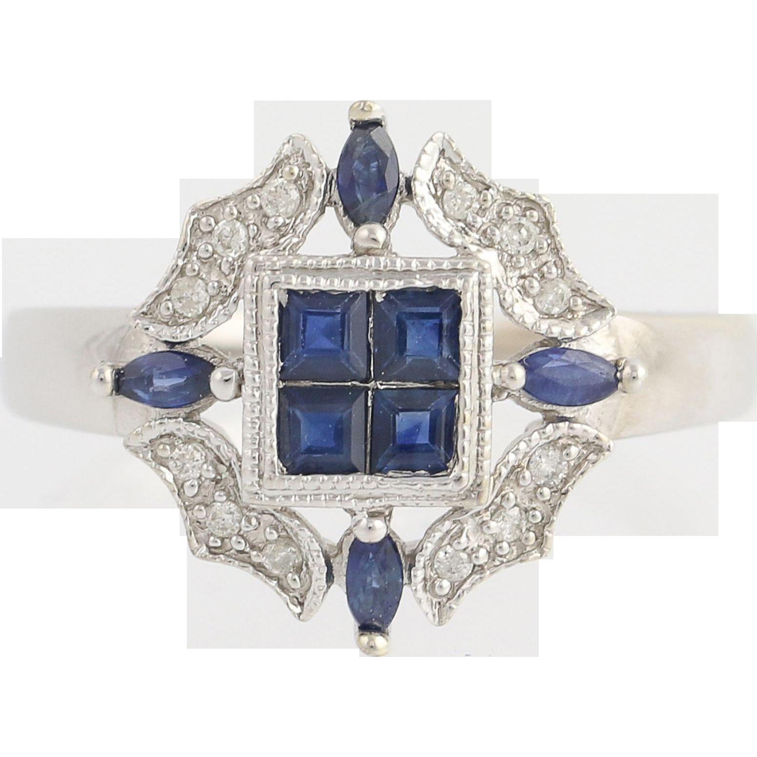 Sapphire & Diamond Ring - 14k White Gold September Birthstone .54ctw