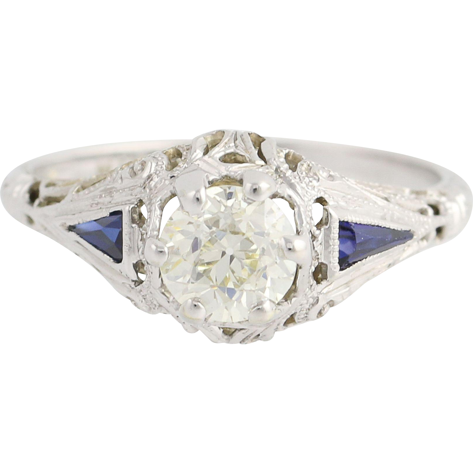 Art Deco Diamond & Synthetic Sapphire Engagement Ring - 18k Gold Vintage .71ct