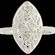 Diamond Ring - 10k White Gold April Birthstone Women's .04ctw