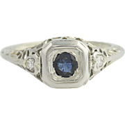 Art Deco Sapphire & Diamond Ring - 18k White Gold Vintage .62ctw