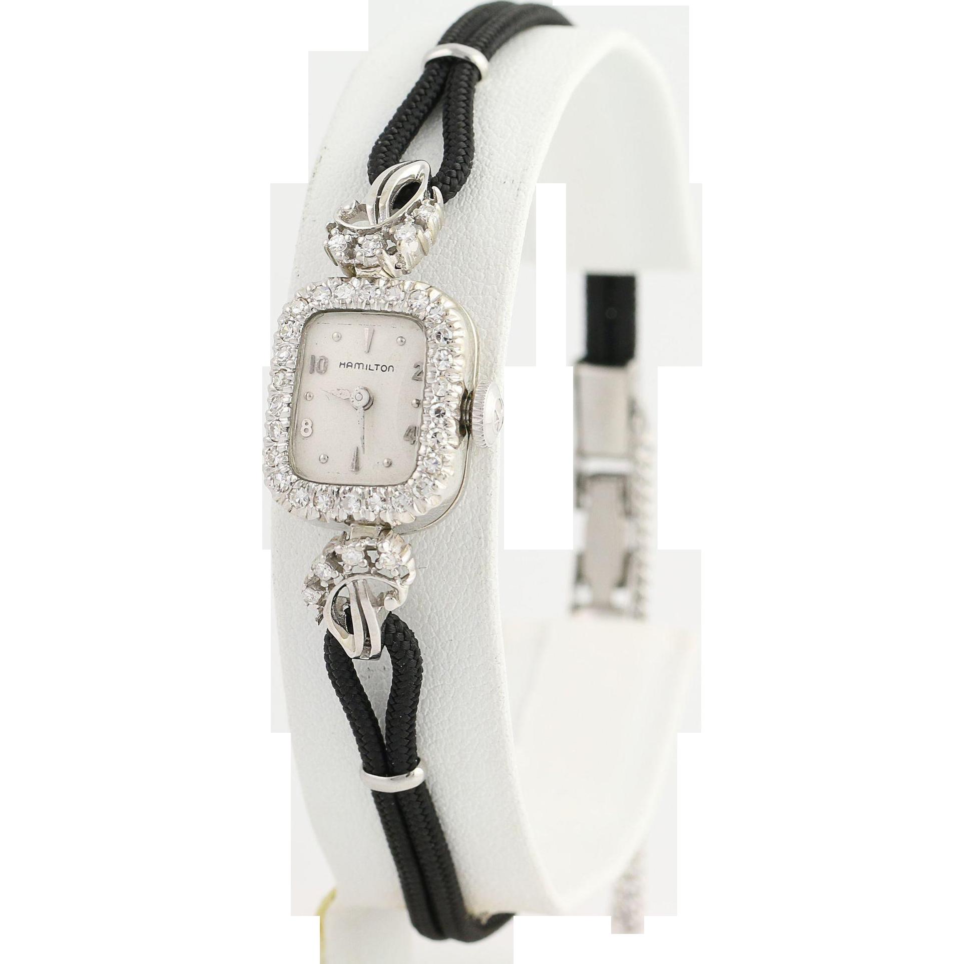 Vintage 1950s Hamilton Diamond Wristwatch - 14k White Gold Mechanical .62ctw
