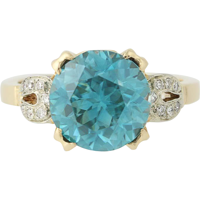 Blue Zircon Ring - 14k Yellow Gold Diamond Accents Retro Round Solitaire 8.24ctw