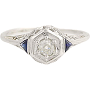 Art Deco Diamond & Synthetic Sapphire Engagement Ring - 18k Gold Vintage .23ct