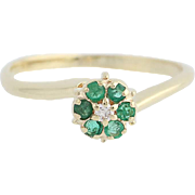 Emerald & Diamond Bypass Ring - 14k Yellow Gold May Birthstone .19ctw