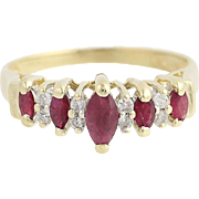 Tiered Synthetic Ruby & Diamond Ring - 14k Yellow Gold .87ctw