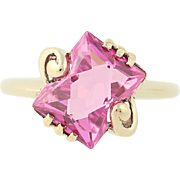 Vintage Synthetic Pink Spinel Bypass Ring - 10k Yellow Gold Solitaire 2.75ct