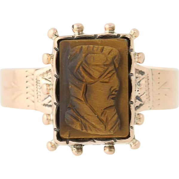 Victorian Carved Tiger's Eye Cameo Ring - 10k Yellow Gold Antique