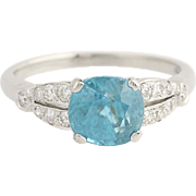 Art Deco Zircon & Diamond Ring - 900 Platinum Vintage Engagement 3.97ctw