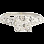 Art Deco Diamond Engagement Ring - 900 Platinum Vintage European Cut 1.36ctw