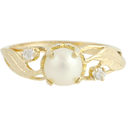 Cultured Pearl & Cubic Zirconia Ring - 10k Yellow Gold June CZ