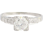 Art Deco Diamond Engagement Ring - 18k White Gold European Cut Vintage .71ctw