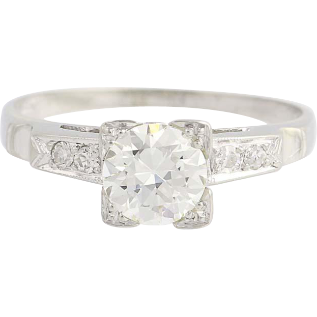Art Deco Diamond Engagement Ring - 18k White Gold European Cut Vintage .71ctw