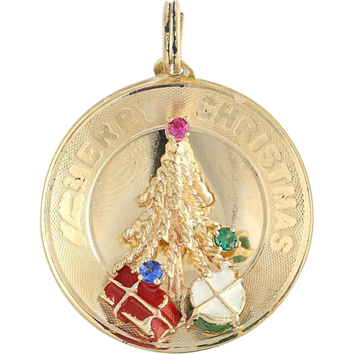Vintage Christmas Pendant - 14k Yellow Gold Rhinestones & Enamel Holiday Gift