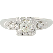 Vintage Diamond Engagement Ring - 14k White Gold European Cut Solitaire .38ctw