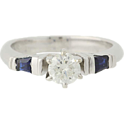 Diamond & Sapphire Engagement Ring - 14k White Gold Solitaire w/ Accents .94ctw