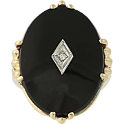 Vintage Onyx Cocktail Ring - 10k Yellow & White Gold Diamond-Accented .01ct