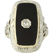 Art Deco Onyx & Diamond Ring - 10k Yellow & White Gold Vintage .04ct