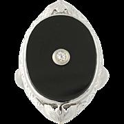 Art Deco Onyx & Diamond Ring - 14k White Gold Vintage .04ct