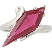 Vintage Synthetic Ruby Bypass Ring - 10k White Gold Size 5 1/2 Women's 3.00ct