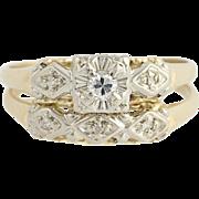 Vintage Diamond Engagement Ring & Wedding Band - 14k Yellow & White Gold .12ctw