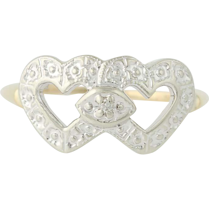 Vintage Heart Ring - 10k Yellow & White Gold Diamond Accent .02ct