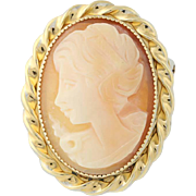 Carved Shell Cameo Brooch/Pendant - 14k Yellow Gold Overlay Convertible Pin