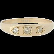 Vintage Three-Stone Diamond Ring - 14k Yellow Gold Wedding Band .10ctw