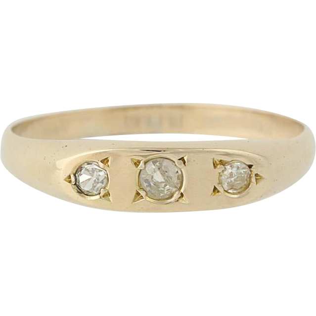 Vintage Three-Stone Diamond Ring - 14k Yellow Gold Wedding Band .10ctw