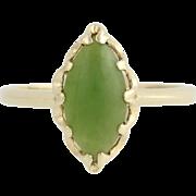 Nephrite Jade Ring - 10k Yellow Gold Solitaire Women's 6