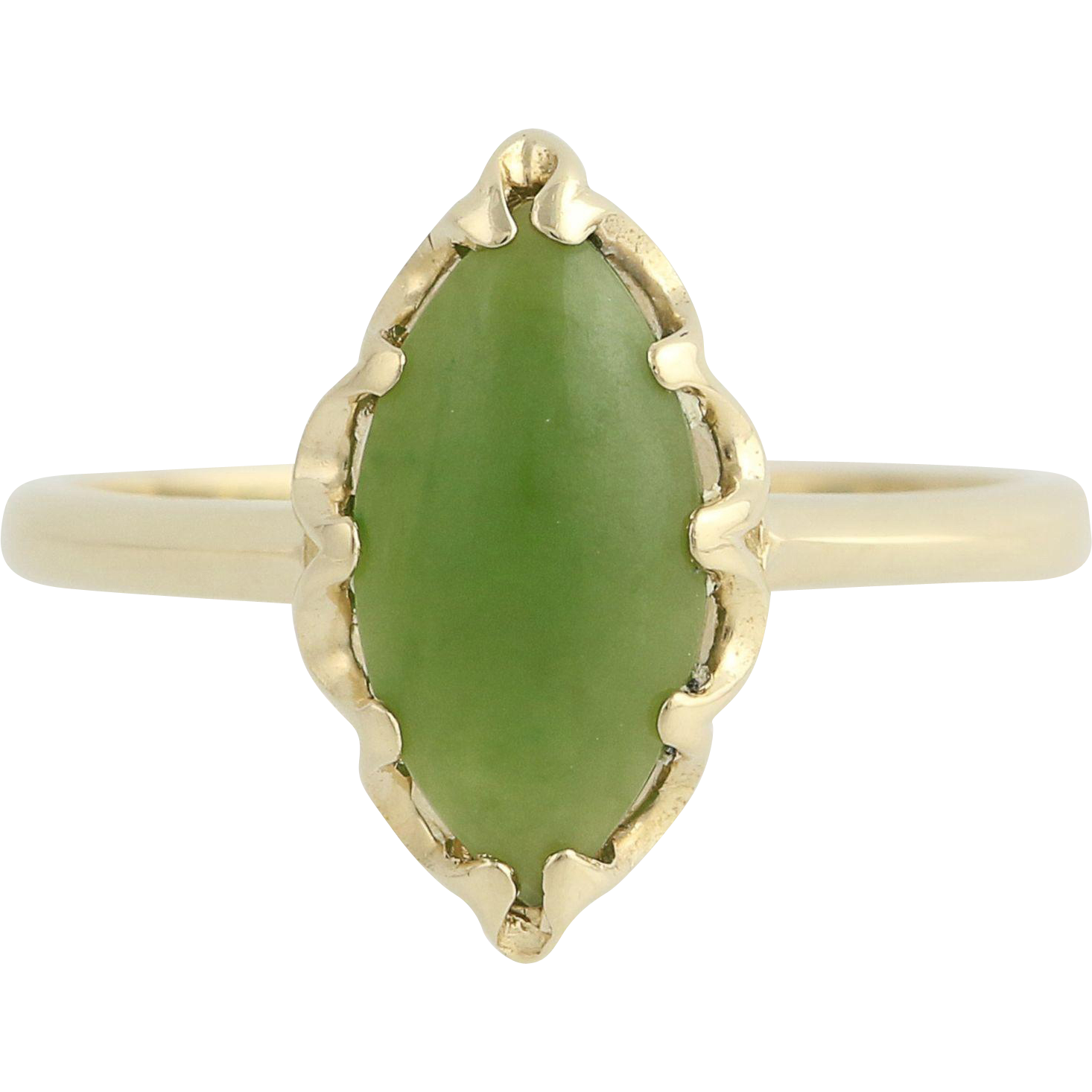 Nephrite Jade Ring - 10k Yellow Gold Solitaire Women's 6