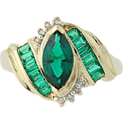 Synthetic Emerald & Diamond Ring - 10k Yellow Gold Bypass 2.16ctw