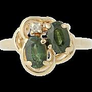Green Sapphire & Diamond Ring - 14k Yellow Gold Size 4 1/4 Women's 1.22ctw