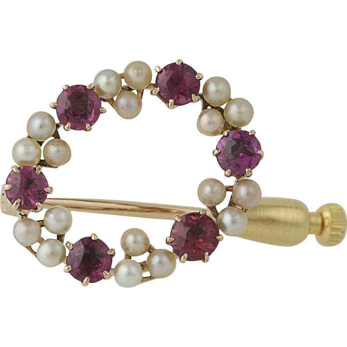Edwardian Garnet/Glass Doublet & Cultured Pearl Brooch - 14k Gold Vintage Wreath