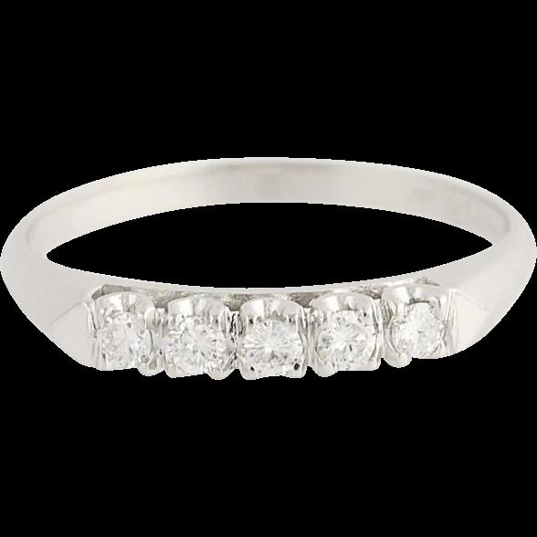 Vintage Diamond Wedding Band - 900 Platinum Anniversary Women's Ring .20ctw