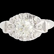 Art Deco Era Diamond Ring - 14k White Gold Engagement Vintage 1.09ctw