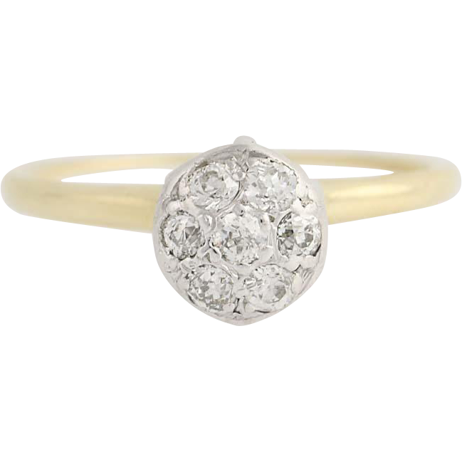 Art Deco Diamond Engagement Ring - 14k Gold & Platinum Vintage Illusion .38ctw
