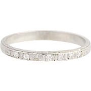 Art Deco Diamond Wedding Band - 18k White Gold Women's Vintage Ring .07ctw