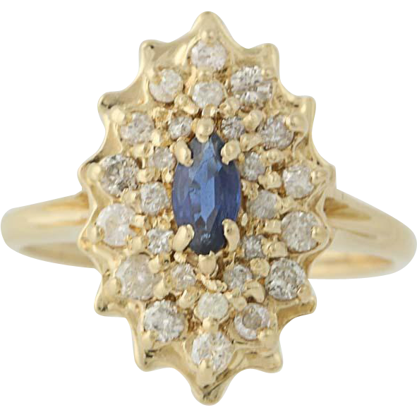 Sapphire & Diamond Cluster Ring - 14k Yellow Gold September Birthstone .68ctw