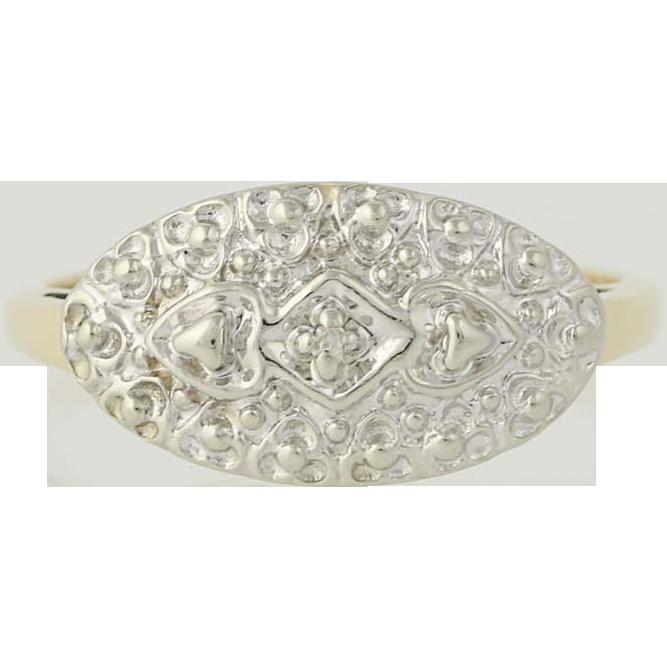 Vintage Diamond-Accented Ring - 10k Yellow & White Gold Women's Size 6