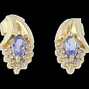 Tanzanite & Diamond Earrings- 14k Yellow Gold December Birthstone Pierced .52ctw