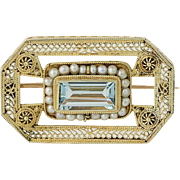 Etruscan Style Aquamarine & Seed Pearl Brooch - 14k Yellow Gold Vintage 1.70ct
