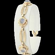"""Vintage Moonstone Link Bracelet 6 3/4"""" - 10k Rose Gold Women's 1940s - 1950s"""